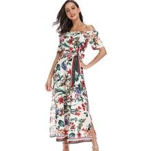 цена на 2019 Print Summer Autumn Dress Off Shoulder Midi Maxi Dress Women Pattern Slit Floral Holiday Vocation Beach Boho Dress HZ-1107