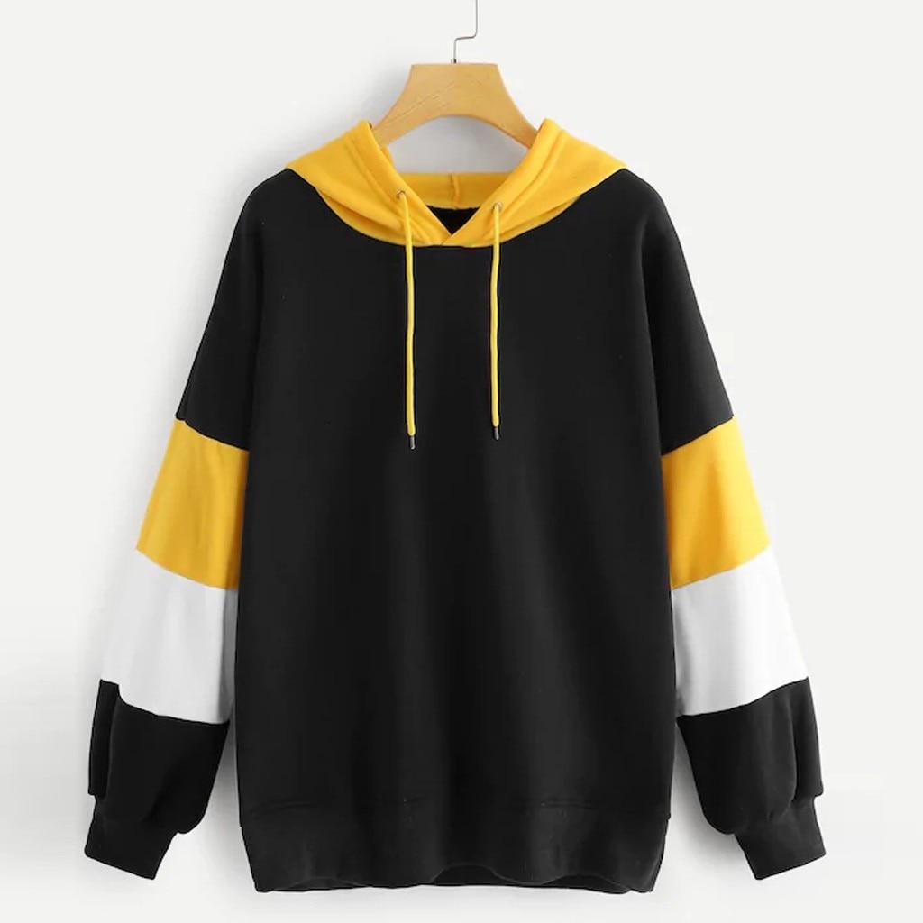 Fashion Winter Women Sports Hoodies Soft Plush Pullover Casual Patchwork Sweatshirts Harajuku Hoody Female Autumn Hooded Tops
