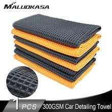 300GSM洗車車ディテールマイクロファイバータオルカークリーニングワッフル毛織りキッチンぼろ車ガラスキッチンバス
