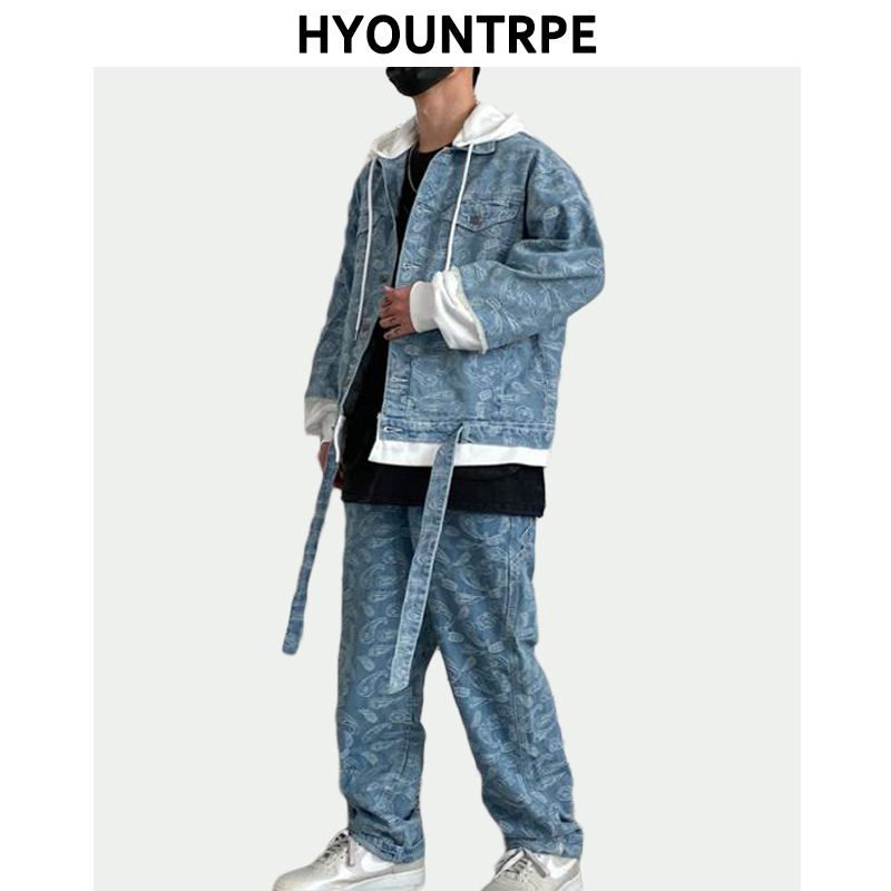 2 Pieces Sets Men Fashion Patchwork Single Breast Denim Jeans Hooded Jacket Coat And Loose Straight Pants Joggers Streetwear Set