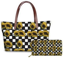 THIKIN Sunflower and Butterflies Print Women Tote Bag Luxury Female Large Handba