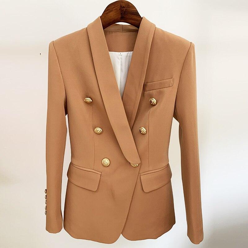 HIGH STREET 2020 Newest Designer Blazer Jacket Women's Slim Fitting Double Breasted Metal Lion Buttons Shawl Collar Blazer