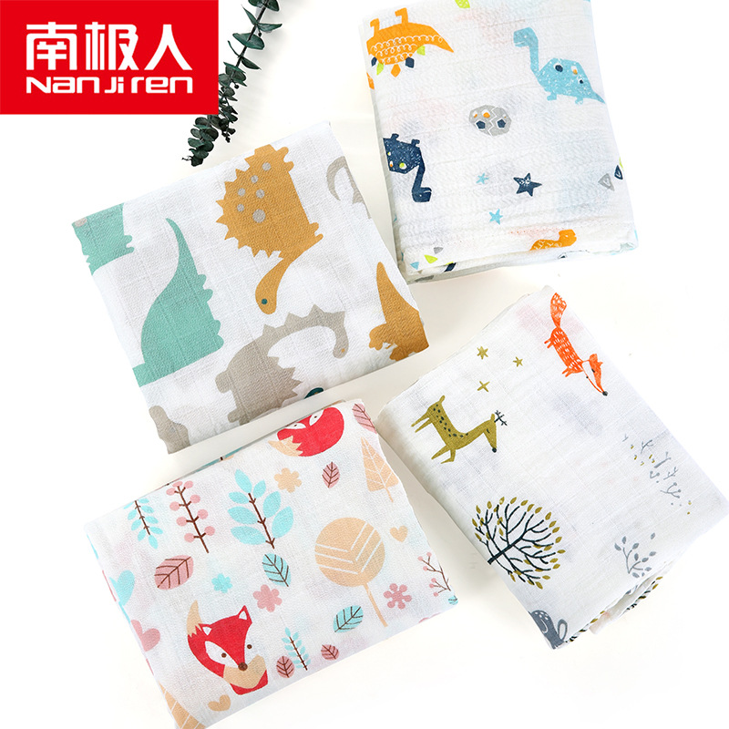 Home Muslin Double Layer Water-Absorbing Pure Cotton Baby Gauze Bath Towel Children Printed Gro-bag Blankets