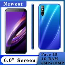 Globale Version V20 Gesicht entsperrt 13MP 4GB RAM 64GB ROM 6,0 inch Smartphone Android Full Screen Handy handy Celulares