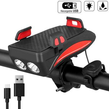 USB Bicycle Lights Multi-function Bike Horn Phone Holder Powerbank 4 in 1 Cycling Front Light Lamp for Night Riding
