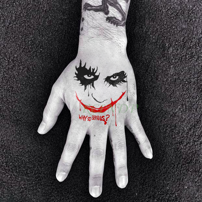 Waterproof Temporary Tattoo Sticker Suicide Squad Joker Big Red Mouth Serious Tatto Flash Tatoo Fake Tattoos For Men Women Lady