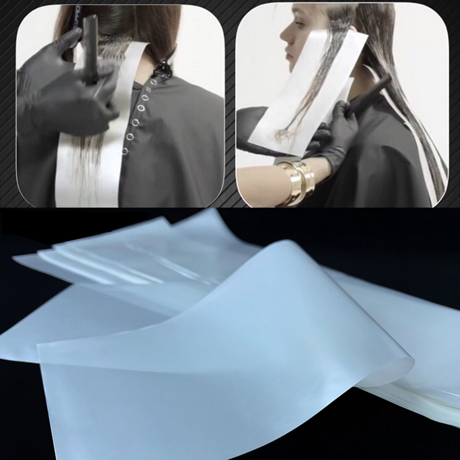 100pcs Hair Dye Paper Reusable Highlight Dyeing Coloring Separating Sheet Paper Salon Barber Tools
