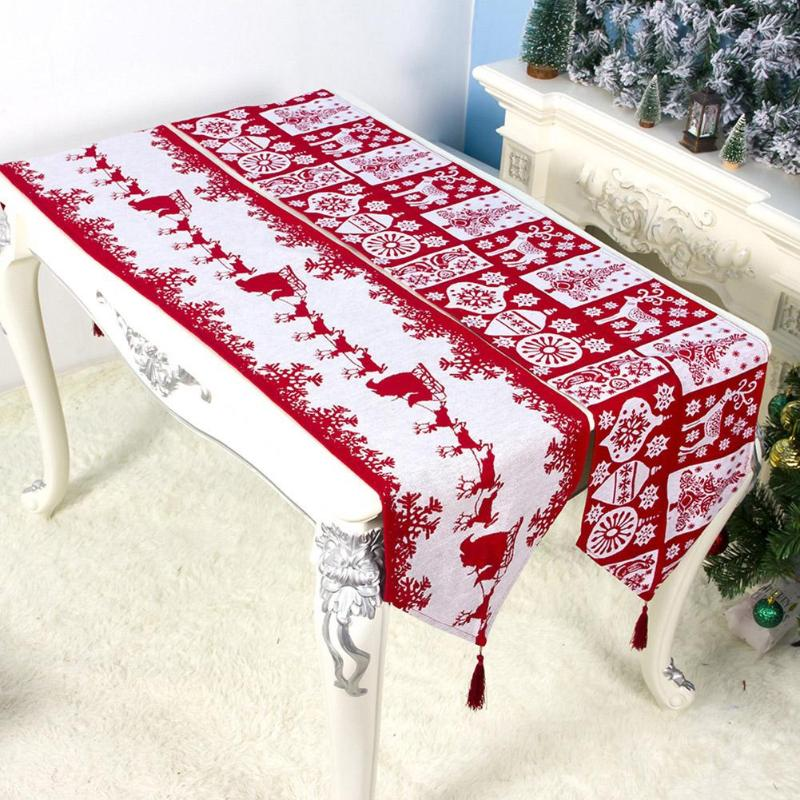 Christmas Elk Printed Table Flag Xmas Table Runner Tablecloth Christmas Decorations For Home Party 2020 New Year Navidad