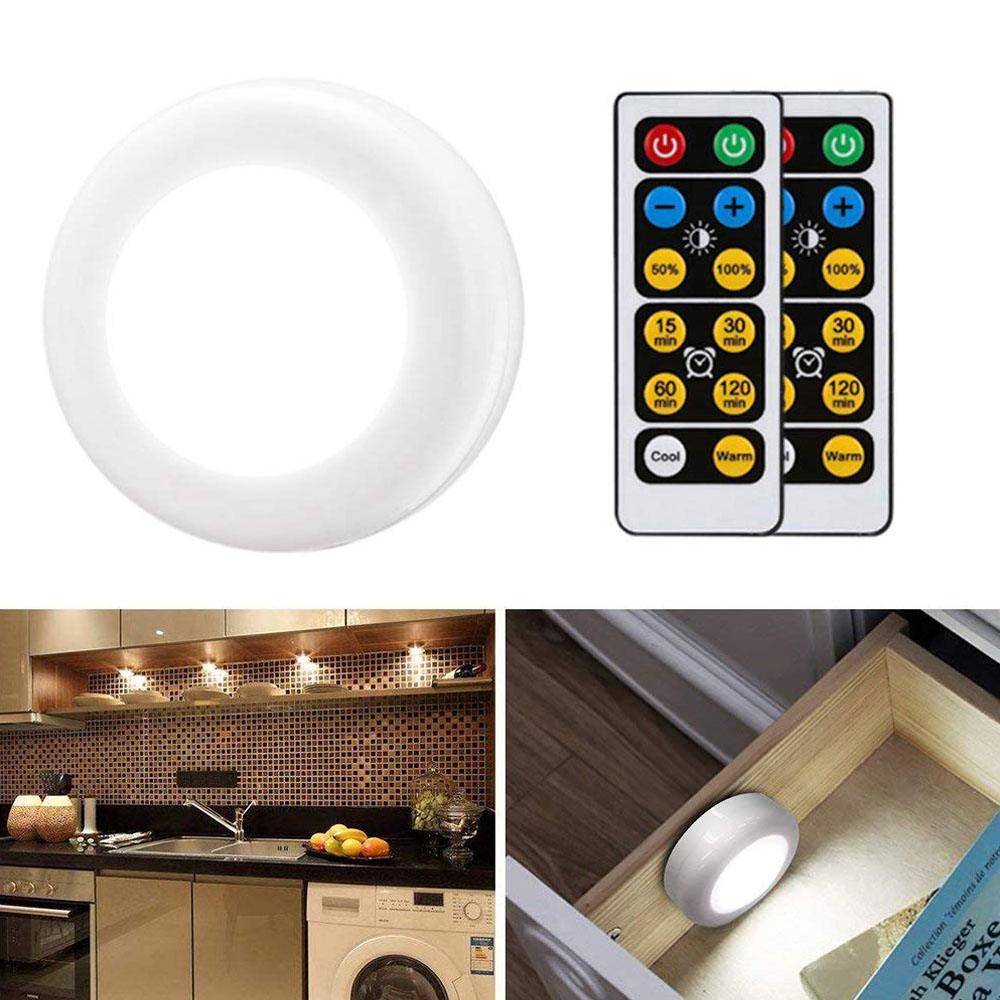 Under Cabinet Light Wireless Warm White & White Dimmable Touch Sensor LED Lamps Battery Remote Control For Kitchen Stair Closet
