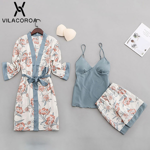 Image 4 - Womens Pajamas Robe Suit Thin Section Printed Robe Sashes Solid Color Camis Ladies Elegant Sleepwear Camicia Da Notte Donna