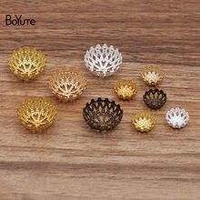 Boyute (100 peças/lote) 12mm 20mm metal latão filigrana flor grânulo caps diy feitos à mão jóias achados componentes