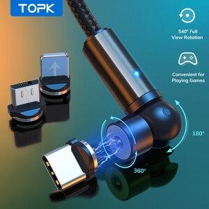 TOPK-Cable magnético de carga para móvil, Cable Micro USB tipo C para iPhone 11 Pro XS Max Samsung Xiaomi, 540