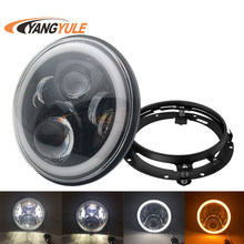 "7 Inch Motorcycle LED Headlight H4 H13 Hi/ Lo Beam Angel Eyes with 7"" black housing for motorcycle Universal Mounting Bracket(China)"