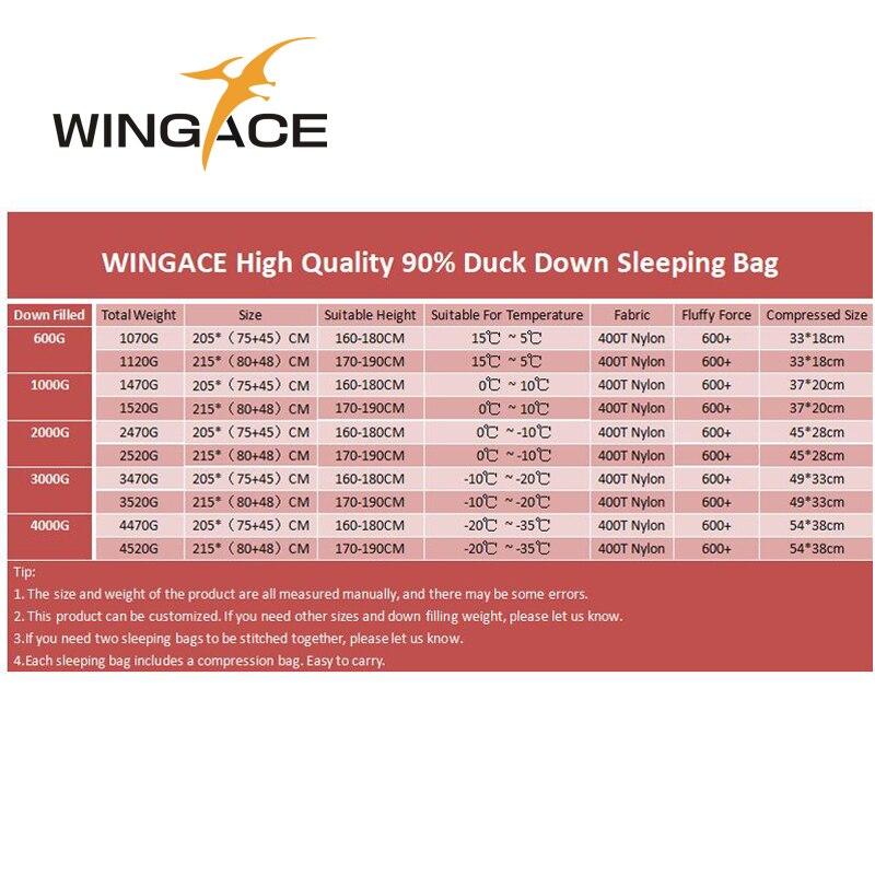 Fill 600G 1000G WINGACE ultralight duck down camping outdoor tourists waterproof mummy fall Travel sleep adult sleeping bags