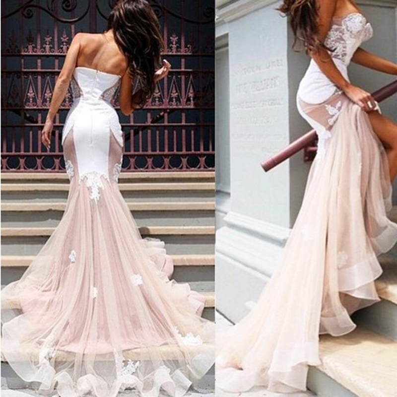 Sexy Sweetheart Prom Dresses Long Lace Tulle Organza Ruffles Evening Dresses Backless Zipper Formal Prom Dress Sweep Train