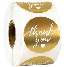 1.5 cala złota okrągła dziękuję naklejana etykieta wodoodporna naklejka papiernicza koreańska złota folia papierowa etykieta uszczelniająca naklejka