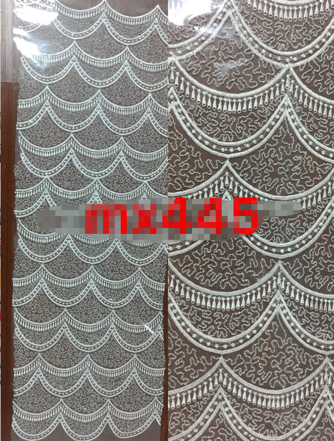 Fashion  Beaded Embroidery Lace  Wedding Dress Fabric  Nigerian Textile African Trimming Lace 10Yards/ Lot
