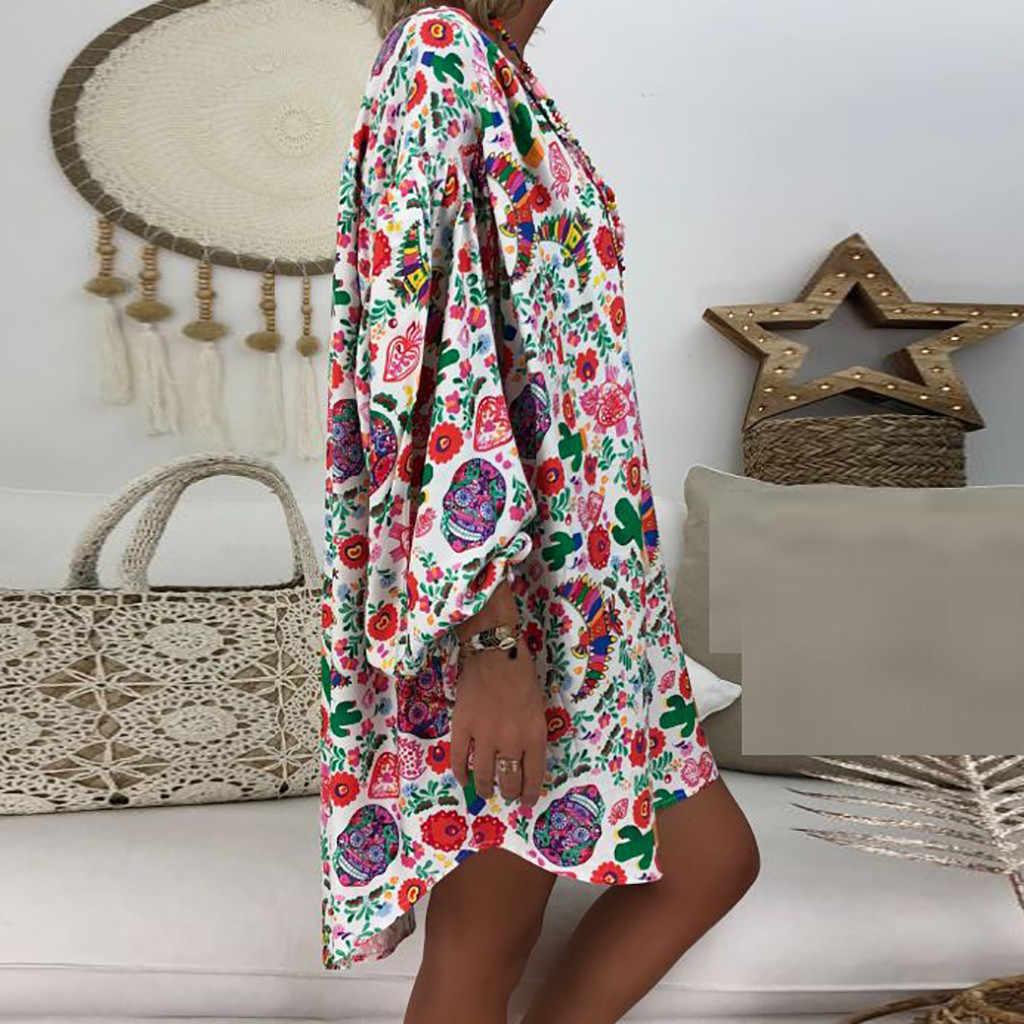 女性ドレスプラスサイズ 5XL 緩い花柄 3 分袖パーティーミニドレスカジュアル女性ドレス ropa の mujer vestidos 新しい