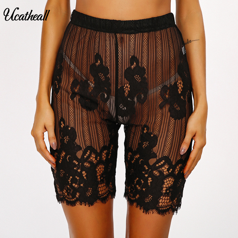 Sexy Hollow Out Women Summer Shorts New Lace High Waist Shorts Elastic Waist Short Trousers Women Trousers  Mujer