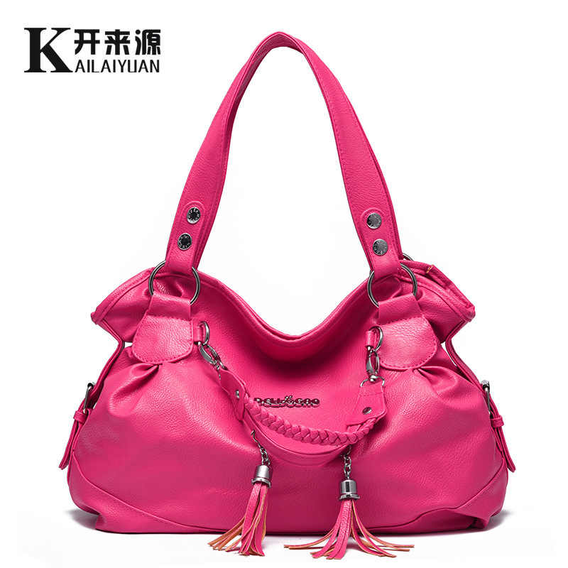 100% Genuine leather Women handbags 2019new handbag  ladies classic casual tassel soft female hand bag Crossbody bill of lading