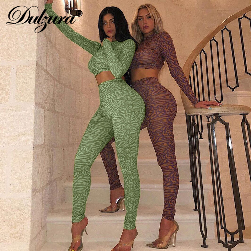 Dulzura 2019 Autumn Winter Women Two Piece Camouflage Crop Top Pants Streetwear Matching Co Ord Set Sexy Outfit Clothes Bodycon