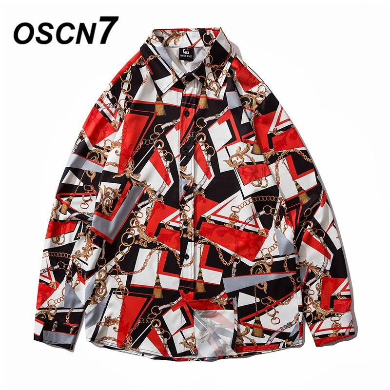 OSCN7 Casual Printed Long Sleeve Shirt Men High High Streetwear 2020 Fall Women Shirt Retro Shirts Harujuku Mens Shirt 2080