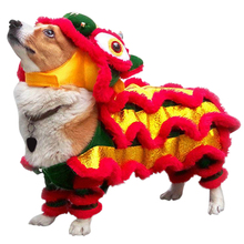 Chinese Style Red Dog Clothes New Years Pet Dragon Dance Lion Costume
