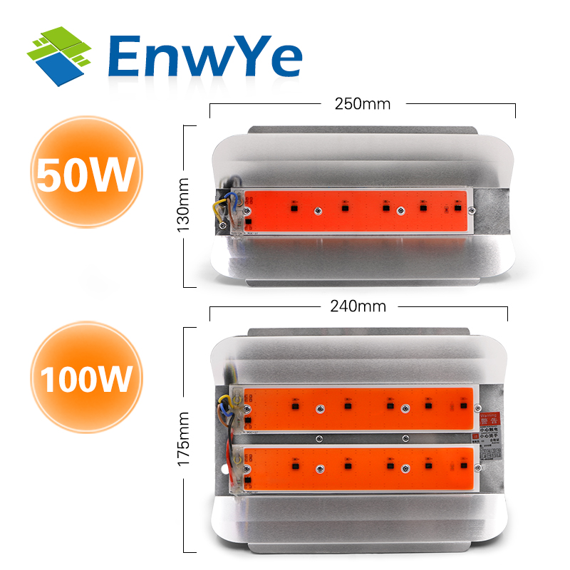 EnwYe 50W 100W Plant Growth Light COB LED Plant Growth Flood Light AC 220V Plant Greenhouse Hydroponics Flood Light