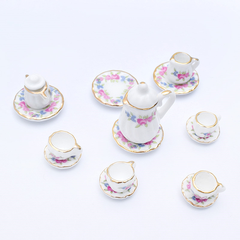15pcs 1:12 Miniature  Porcelain Tea Cup Set Chintz Flower Kitchen Tableware Dollhouse Furniture Toys For Kids Gift 19 Patterns