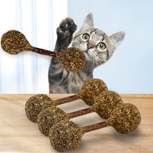 Natural Cat Catnip Treat Balls Chewing Teeth Cleaning Treats Lollipop Shape Funny Ball Pet Supply