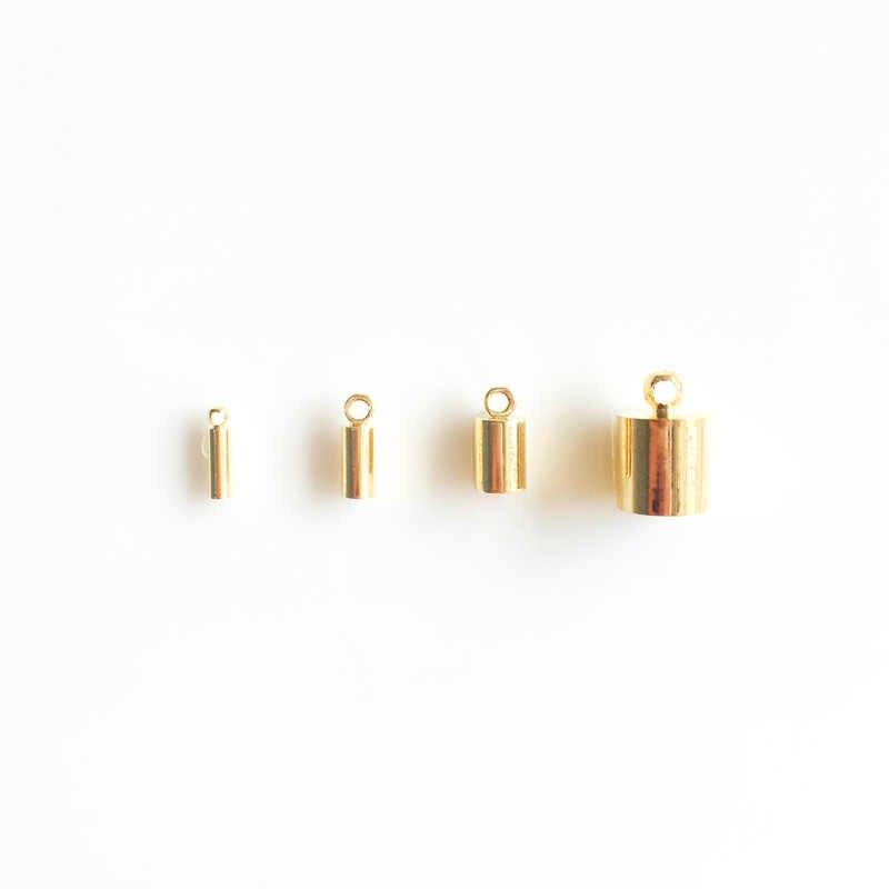 Toptan 10 adet/grup altın 14k altın kaplama kordon uç kapağı için kolye bilezik takı yapımı