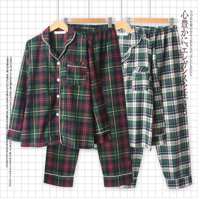 Sonbahar Yeni Kadın Gevşek Eğlence Uzun Kollu Pijama Mujer Çift Pijama Seti Saf Pamuk Ekose Artı Boyutu Pijama Pijama mujer