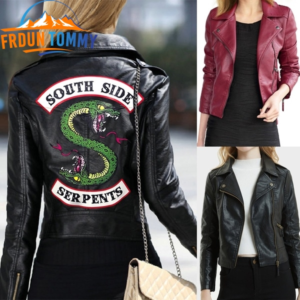 Hot TV Riverdale Southside New Spring Riverdale Southside Serpent Kpop Fans Zipper PU Jacket Women Coats Slim Fit Jacket Clothes