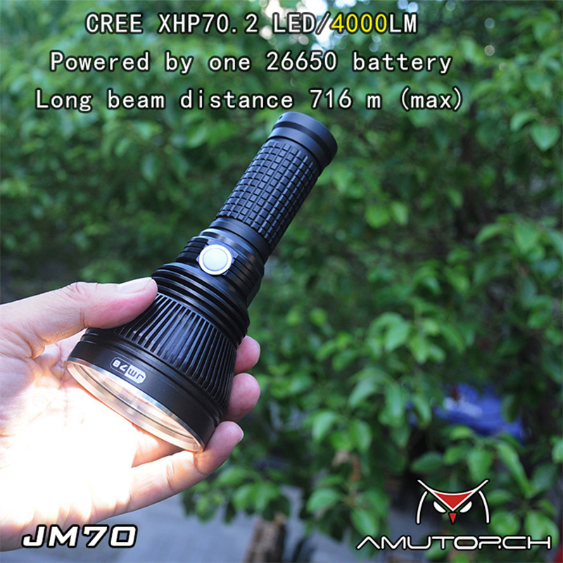 Amutorch JM70 CREE XHP70.2 4000лм 716 м дальность луча Метчик Flashllight поиск охота 26650 фонарик