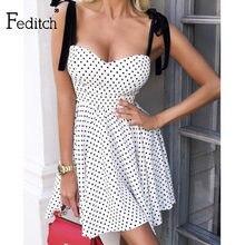 Feditch elegante arco branco dot 2021 vestido de rua das mulheres sem mangas a linha vestidos sexy feminino sem costas vestido de praia de verão