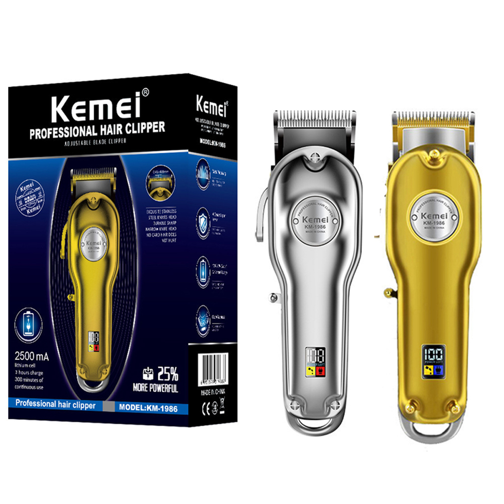 Kemei All-metal Barber Professional Hair Clipper KM-1986 Electric Cordless LCD Hair Trimmer Gold Silver Hair Cutting Machine