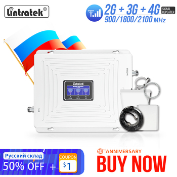 Lintratek 2g 3g 4g Cellular Signal Booster GSM 900 1800 2100 GSM WCDMA UMTS LTE Cellular Repeater 900/1800/2100mhz Amplifier