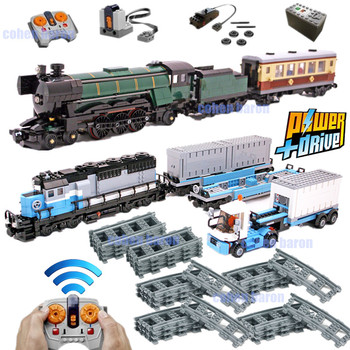 New RC Motor Power Functions Ultimate Maersk Night Train Track Fit Emerald Technic City Remote Control Building Block Bricks Toy