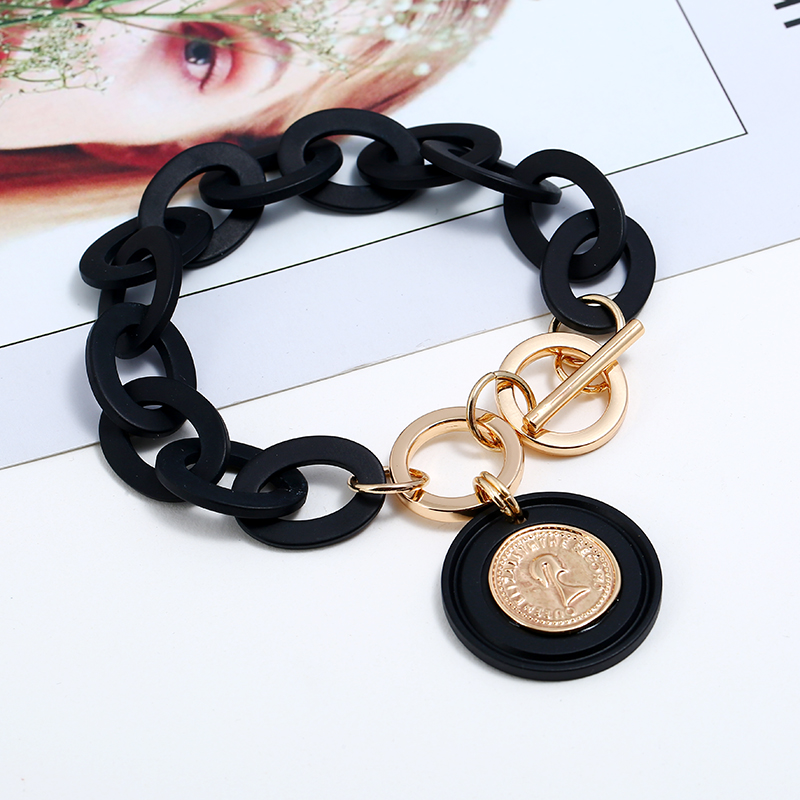 Boho Black Acrylic link Chain bracelet femme Queen's Head Gold Coin Pendant Bracelets for Women Pulseras mujer moda 2019 jewelry