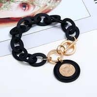 Boho Schwarz Acryl link Kette armband femme Königin Kopf Gold Münze Anhänger Armbänder für Frauen Pulseras mujer moda 2019 schmuck