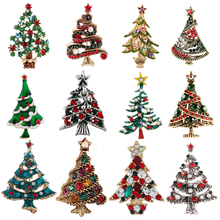 Fashion Colorful Crystal Christmas Tree Brooch for Women Vintage Exquisite Pin Gift Sweater Dress Accessories Jewelry Christmas vintage christmas tree mesh panel dress