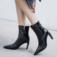Plus Size 34-43 High Quality Women Ankle Boots Zip Pointed Toe Footwear High Heels Female Boots Party Shoes Women Patent Leather цены онлайн