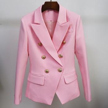 HIGH STREET 2021 Classic Designer Blazer Jacket Women's Slim Fitting Metal Lion Buttons Double Breasted Blazer