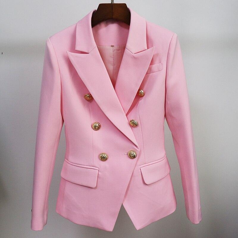 HIGH STREET 2020 Classic Designer Blazer Jacket Women's Slim Fitting Metal Lion Buttons Double Breasted Blazer