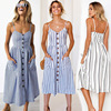 Boho Sexy Floral Dress Summer Vintage Casual Sundress Female Beach Dress Midi Button Backless Polka Dot Striped Women Dress2020  1