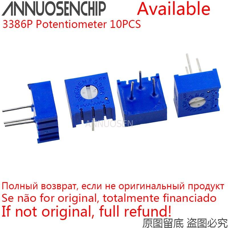 10 pièces 3386P potentiomètre résistance réglable de précision 1K 2K 5K 10K 20K 50K 100K 200K 500K 1M 100 200 500 ohms R 101 103 101