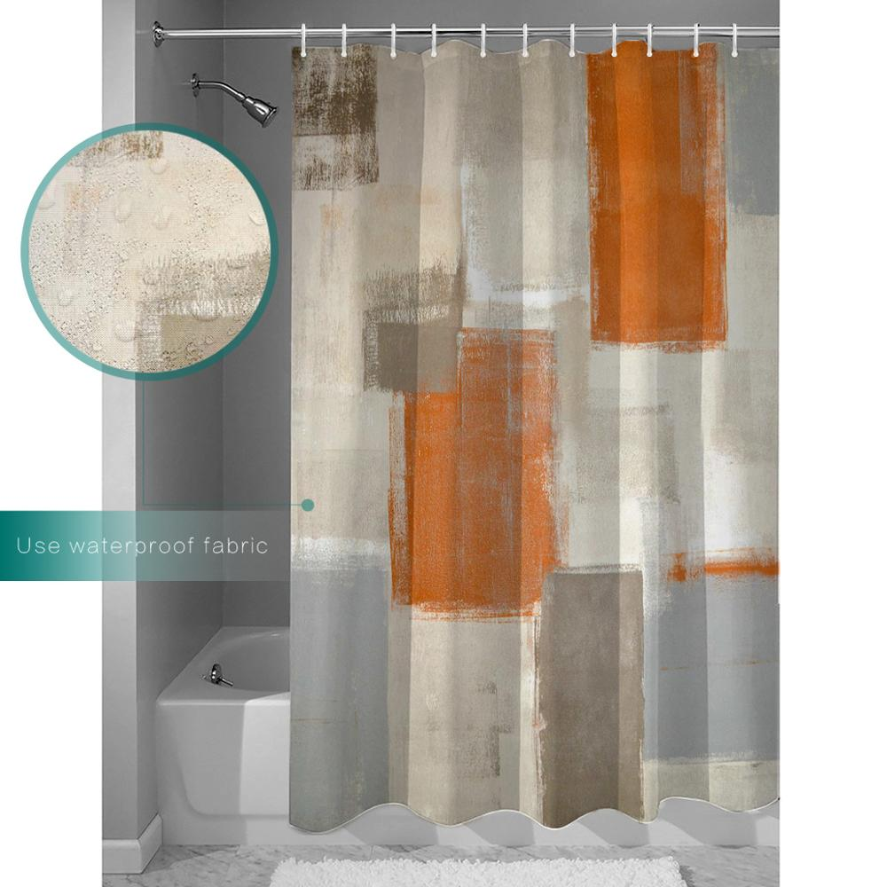 gray contemporary beige and orange abstract painting brown white blocks gallery grey decor shower curtains bathroom curtain