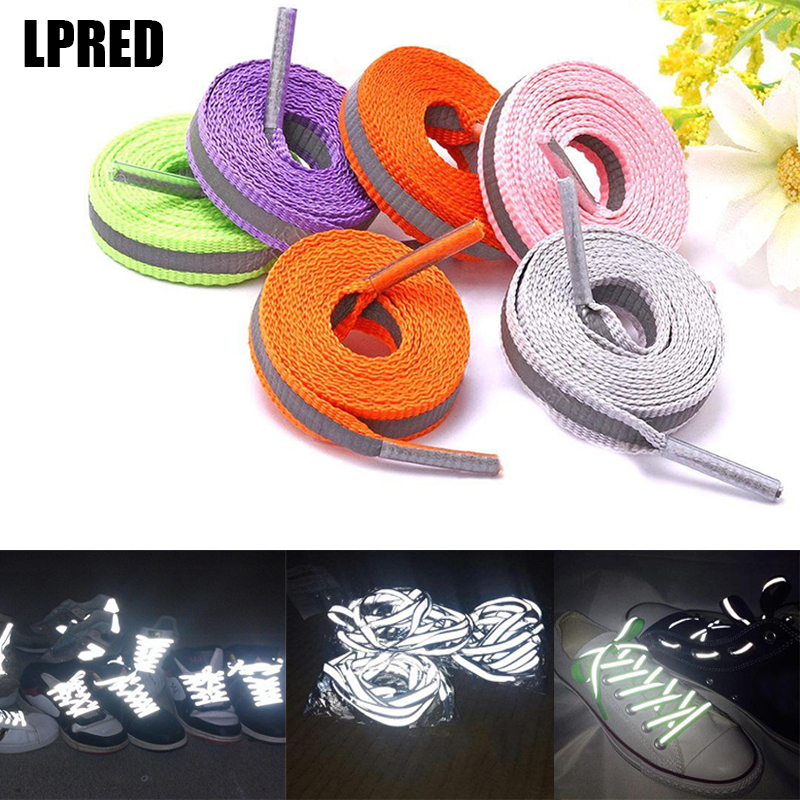 1 Pair Reflective Shoe Laces Safety Luminous Glowing Shoelaces Unisex Sport Basketball  Shoes Glowing Shoelaces 120cm