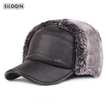 SILOQIN  Dad's Hats Winter New PU Men's Hat Thick Warm Baseball Caps Middle-aged Leather Caps  Plus Velvet Earmuffs Brands Hats siloqin new winter men s genuine leather hat thicken warm cowhide leather baseball caps with ears dad s hats snapback brands cap