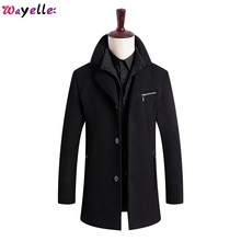 New Winter Wool Coat Mens Business Casual Solid Color Stand Collar Male Overcoats Long Cotton Formal  4 Buttons Fall Jackets